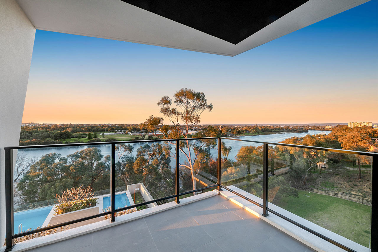 Parallel Apartment balcony with a view of Swan river