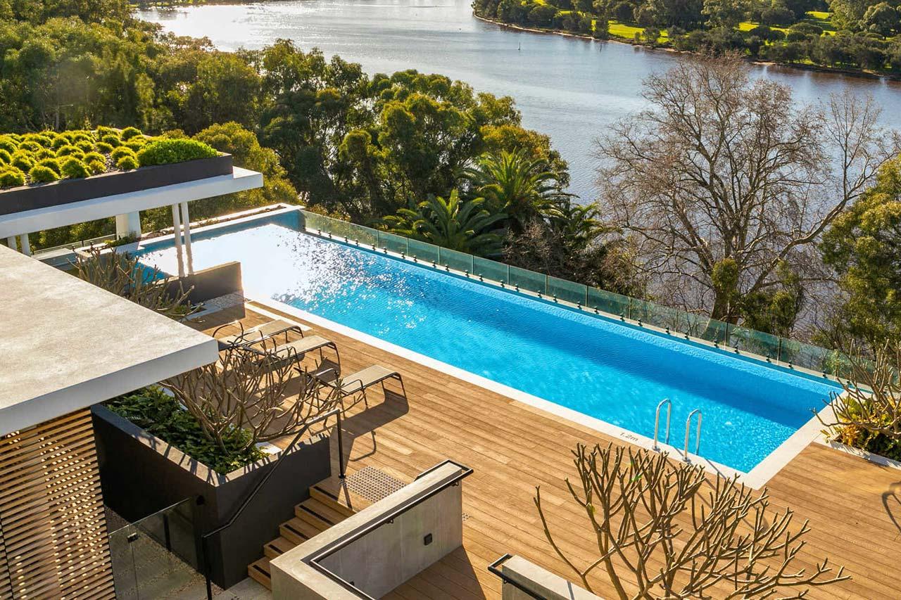 private swimming pool facing the swan river